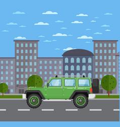 modern off road car in urban landscape vector image vector image