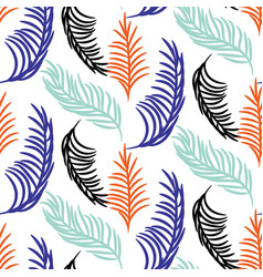 palm tree leaves seamless background vector image