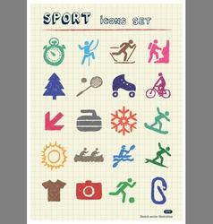 Sport web icons set drawn by color pencils vector image
