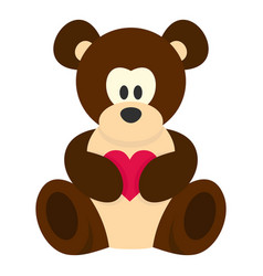teddy bear with pink heart icon isolated vector image vector image
