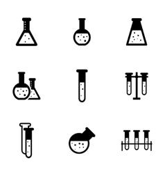 black chemistry icon set vector image