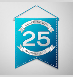 blue pennant with inscription twenty five years vector image vector image