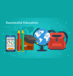 business banner-successful education vector image vector image
