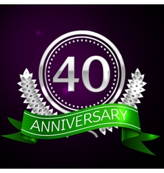 Forty years anniversary celebration with silver vector image vector image