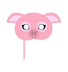 pink pig domestic animal carnival mask vector image vector image