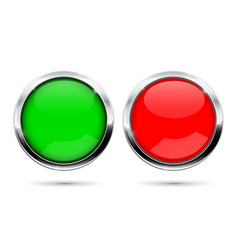 round buttons green and red with chrome frame vector image vector image