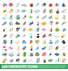 100 chemistry icons set isometric 3d style vector image vector image