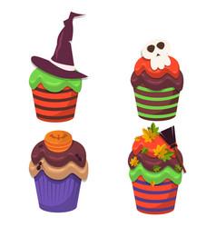 cupcake set happy halloween scary sweets vector image