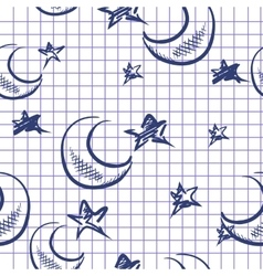 Doodle Moon And Stars Background vector image vector image