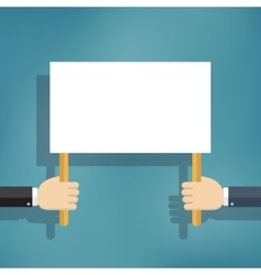 Hand holding blank protest board vector image vector image