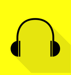headphones sign black icon with flat vector image vector image