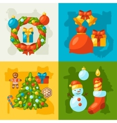 Merry Christmas holiday greeting cards with vector image