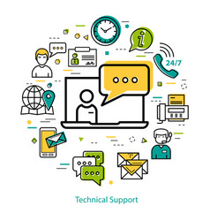 Technical support - line round concept vector