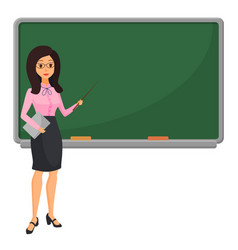 young female teacher near blackboard teaching vector image
