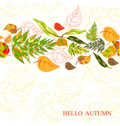 background of stylized autumn leaves for greeting vector image vector image