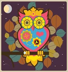 cartoon owl big pink queen vector image vector image