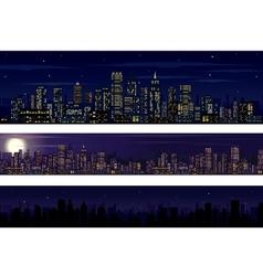 City Skyline Collection of Night Skyline vector image