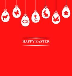 egg symbol hang red vector image vector image
