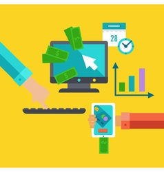 Flat concept for exchange and marketing vector