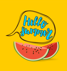 hello summer watermelon comic text bubble vector image vector image