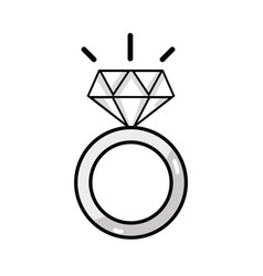 line beauty wedding ring with diamond design vector image vector image