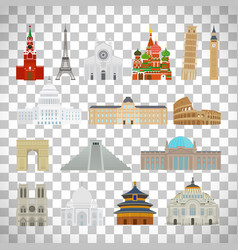 monuments flat icons on transparent background vector image vector image