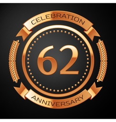 Sixty two years anniversary celebration with vector image vector image