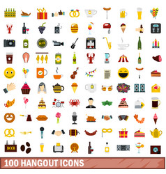 100 hangout icons set flat style vector