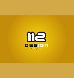 112 number numeral digit white on yellow vector image