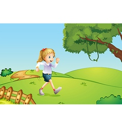 A girl jogging at the hill vector image