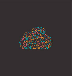 abstract business logo icon with cloud vector image vector image