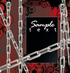 Abstract grunge background with silver chains vector