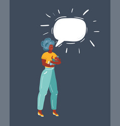 afro mother and her bawith speech bubble vector image