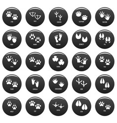 animal footprint icons set vetor black vector image