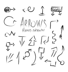 Arrows Hand Drawn Ink Imitation Set Isolated vector image