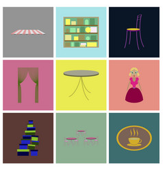 assembly flat icons interior vector image