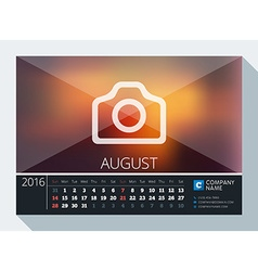 August 2016 Stationery Design Print Template Desk vector