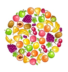Background design with stylized fresh ripe fruits vector image vector image