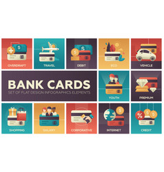 bank cards - set of flat design infographics vector image