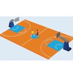 Basketball court arena match game basket player vector