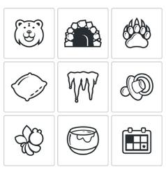 Bear icon set vector