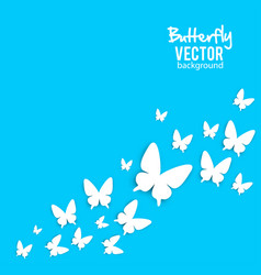 beautiful background with white paper butterfly vector image