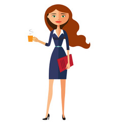 Beautiful business woman holding a cup vector