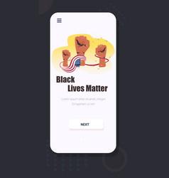 black lives matter banner raised up fists vector image