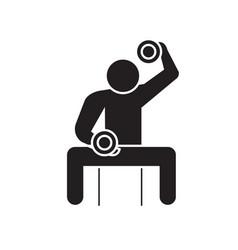 bodybuilder holding dumbell black concept vector image