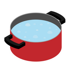 Boiling water in cooking pot vector