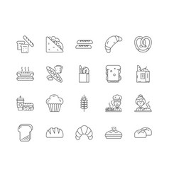 bread line icons signs set outline vector image