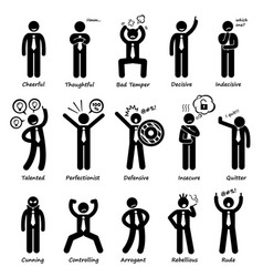 Businessman attitude personalities characters vector