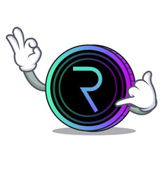 Call me request network coin mascot cartoon vector
