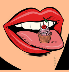 capkake female tongue mouth vector image